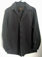 Mens Size Medium 15-1/2 32/33 BCBG // Attitude Black & Purplish Gray Dress Shirt