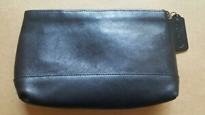 Coach Cosmetic Bag Clutch Black Leather Hangtag Striped Lining Inner Pocket