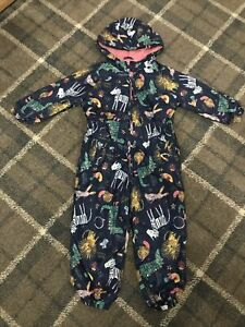 Girls All In One Fleece Lined Raincoat Puddle Suit 3-4 Years TU Animal Print