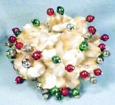 Vintage Christmas Ornament Decoration Mercury Glass Balls White Chenille Leaves