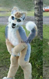 Long Fur Fox Husky Dog Mascot Costume Suits Cosplay Party Dress Adult Size New