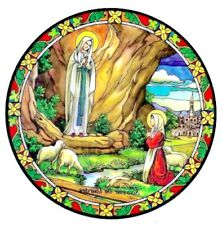 Our Lady of Lourdes Stained Glass Suncatcher Sitcker Window Cling NEW