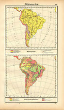 1908 MAP ~ SOUTH AMERICA ~ GEOLOGICAL OVERVIEW & MARINE AREAS