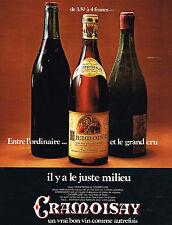 """PUBLICITE ADVERTISING 064  1971  CRAMOISAY    UN BON VRAI VIN   """"le juste milieu"""