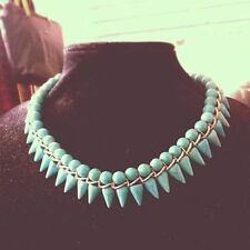 Turquoise Spike Statement Necklace by Del Seen Collection