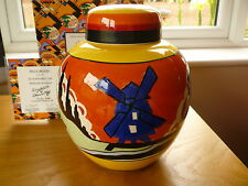 Wedgwood Clarice Cliff Blue Windmill Jar, Ltd Ed no 249 Certificate of Auth Bxd