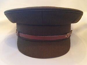 British Army No 2 Cap, Service Dress Hat, Military, Khaki, Brown Chinstrap