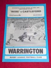 Rugby League Programme - Warrington v Castleford - April 6 1975
