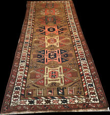 Authentic Antique 5' x 11' Caucasian Karabagh Runner Rug Circa 1900