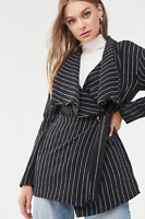 FOREVER 21 Black Woven Pinstripe Belted Wrap Trench Lapel Jacket Pea Coat Size L
