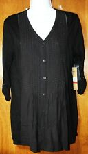 NEW DKNY Jeans black beaded 3/4 sleeve tunic top shirt v-neck XS NWT