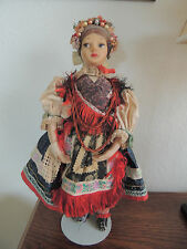 Vintage Hungarian Matyo Doll rubber face and arm 1930-is   she need tender care