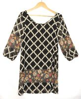 SWEET CLAIRE Women's Black Multi-color Tunic Dress Floral Geometric Size Medium