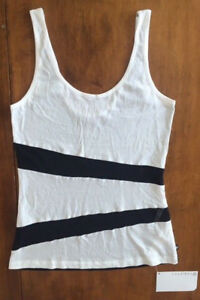 NWT Womens FABLETICS ATHLETIC TANK TOP Mesh Panels BLACK and WHITE Sleeveless M