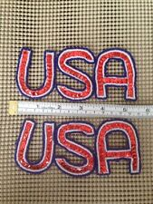 Lot (2) Usa-Red,White & Blue Sequin Appliques Beads Patch