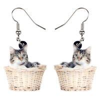 Acrylic Basket Kitten Cat Earrings Dangle New Fashion Pet Jewelry For Women Gift