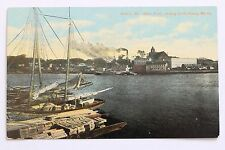 Old postcard WATER FRONT, SHOWING SMITH PLANING MILL CO., BREWER, MAINE