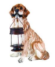 Golden Retriever Dog Statue Holding Solar Lantern Light