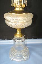 Antique Eapg Oil-Kerosene Lamp, Glass Drape Tank & Pedestal Base Copper Joint