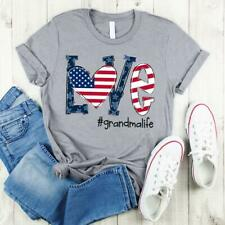 Love #Grandmalife Independence Day Ladies T-Shirt 100% Cotton S-3XL Sport Grey