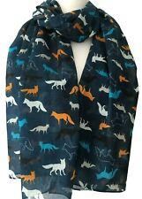 Navy Fox Scarf Ladies Orange Turquoise Blue Foxes 100% Pure Cotton