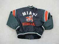 VINTAGE Miami Hurricanes Jacket Adult Extra Large Black Leather Coat Mens 90s *