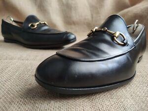 Gucci Jordaan 482467 Men's Black Leather Gold Horsebit Loafers UK 6.5    US 7.5