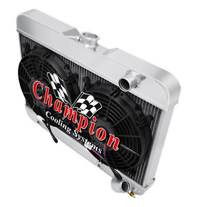 """3 Row BC Champion Radiator W/ 2 12"""" Fans for 1962 1963 Buick Special V8 Engine"""