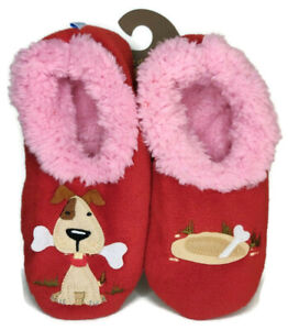 Snoozies! Slippers Women's Size Small 5-6 Splitz Design Applique Red Puppy Dog
