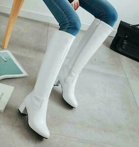 Chic Women's Side Zipper Round Toe Chunky Heels Knee High Thigh Knight Boots