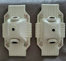 VINTAGE PAIR OF CIRCA 1930 ART DECO PORCELAIN LIGHT FIXTURES