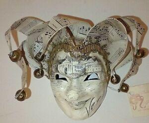 Venezia Jester Mini Wall Mask Hand-made in Italy w/Certificate