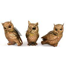 """Set of 3 Bronze Tone Painted Owls Owl Bird 5"""" Figurines Figures"""