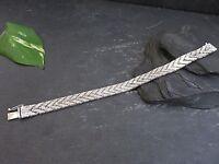 Schönes 835 Silber Armband Flach Funkelnd Struktur Defekt Vintage Retro 70er