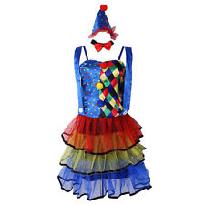 Circus Clown Costume Ladies Tutu Dress Hat Bowtie Cosplay Party Adults Dress