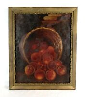 Antique 19th Century Victorian Still Life Oil Painting of Fruit Peach Basket