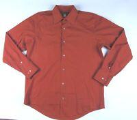 Banana Republic Men Stretch Classic Red Orange Long Sleeve Button Up Shirt Sz L