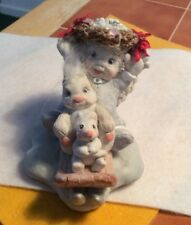 Vintage Dreamsicle Cast Art Angel On Sled With Bunny And Mouse Kristin 1993