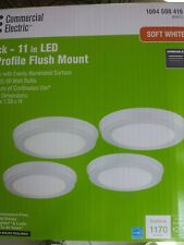11 in. round LED Low Profile Light Fixture Flush Mount  (4 PACK) White