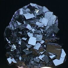360.5g Natural Cube Deep Purple Fluorite Crystal Cluster Mineral Specimen/China