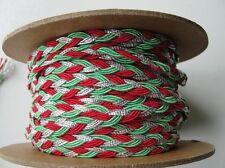 Metallic Silver, Red, Green  Holiday Braid , 3 yards