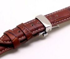 18mm Brown/White Croco Embossed Leather Padded Watch Strap Butterfly Clasp