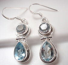 Blue Topaz Faceted 925 Sterling Silver Dangle Earrings Corona Sun Jewelry