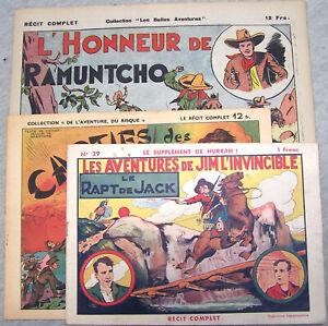 Lot 3 récits complets BE 1940 46 47 Niezab Brantonne Souriau Del Duca Ed. Mond.