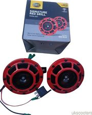 GENUINE HELLA RED GRILL SIGNATURE SUPERTONE DUAL CAR HORN TWIN 118DB 12V WIRE