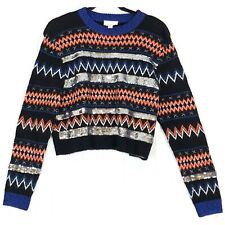 Topshop black sequin stripe fair isle sweater 6 NEW