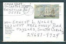 US.UX122 Postcard USED Yorkshire packet ship 28c canceled 1991 Birmingham  AL.