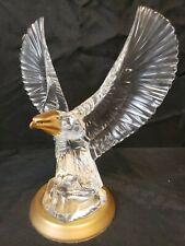 Rare Vtg Franklin Mint Gold Gilt German Crystal Bald Eagle Sculpture Figurine