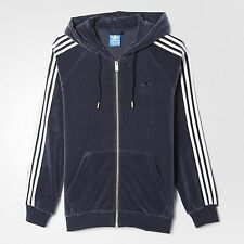 LARGE  adidas Originals MEN'S Slim Fit  VELOUR HOODIE TRACK TOP JACKET BLUE 1AVL