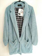 Minkpink Womens Size Medium Light Powder Blue Lined Sleepwear Casual Fuzzy Coat